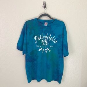 Philadelphia Tie Dye Graphic Tee XL Upcycled SOFT!